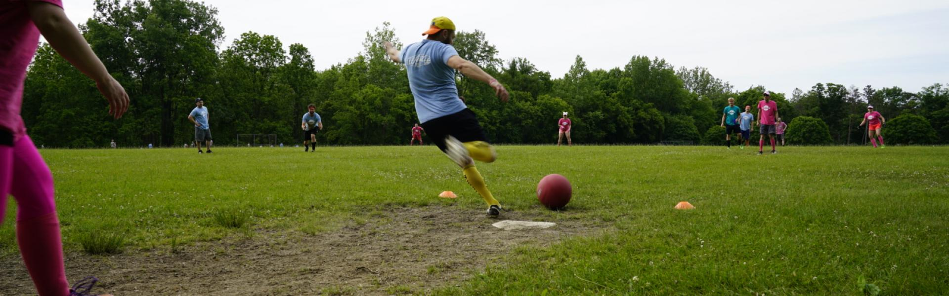 Ithaca Kickball in Action